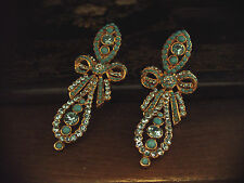 Vintage Butler & Wilson Aquamarine Crystal & Turquoise Bow Drop Earrings
