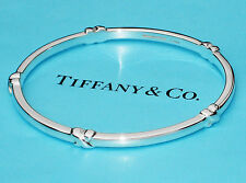 Tiffany & Co Sterling Silver Signature KISS Bangle Bracelet Size Medium