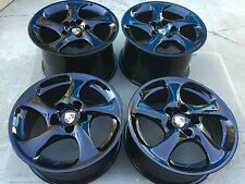 "18"" NEW SUPER LIGHT OEM PORSCHE 911 993 996 997 TURBO TWIST HOLLOW BLACK WHEELS."