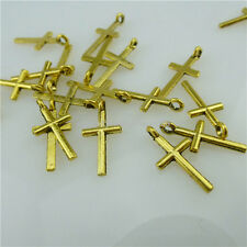 13911 200PCS Vintage Gold Tone Mini Religious Faith Cross Pendant Charms
