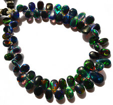 Ethiopian Black Opal Gem Ultimate Quality Rainbow Fire Pear Shape Briolettes7.5""