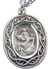 "MRT .925 Sterling Silver St Christopher Travel Medal 3/4"" w Stainless Chain Gift"