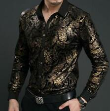 Fashion Men Floral Shirts Casual Dress Mulberry Silk velvet Tops Long Sleeve