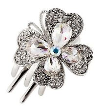 Hair Clip Claw using Swarovski Crystal Hairpin Flower Bridal wedding Silver AB 2
