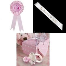 MUMMY TO BE Satin Sash + IT'S A GIRL Rosette Badge+ Crystal Pacifier Baby Shower