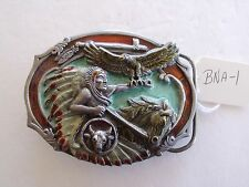 BELT BUCKLE VINTAGE NATIVE AMERICAN INDIAN, ARROYO GRANDE BUCKLE CO MAKER BNA-1
