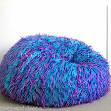 LARGE SHAGGY FUR BEANBAG Cover Blue Pink Cloud Chair Soft Bean Bag Retro Lounge