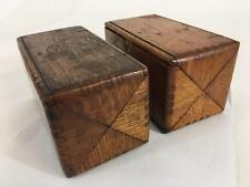 Singer Antique 1889 Oak Puzzle Dovetail Set 2 Wood Box & Sewing Attachments Lot
