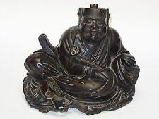 ANTIQUE 19 c. CHINESE EBONIZED CARVED WOOD BUDDHA STATUE