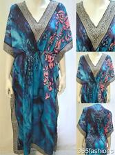 PLUS SIZE BUTTERFLY FACE KAFTAN MAXI DRESS BLUE 16 18 20 22 24 26 28 30 32 34