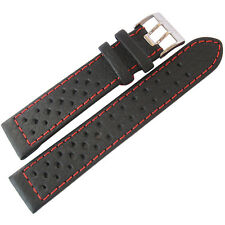 19mm Di-Modell Rallye Mens GT Rally Black Red-Stitched Leather Watch Band Strap