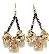 G10 Metal Ribbon Bow Heart Love EARRINGS Chain Black Gold Plated NEW