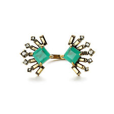 Veda Split Cocktail Rings Vintage Gold Fan Jade Green Square Stones Designer