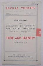 FINE AND DANDY.FIRTH SHEPHARD.PROGRAMME 1942.LESLIE HENSON.DOROTHY DICKSON