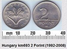 HUNGARY 2 FORINT AUNC COIN # 2140
