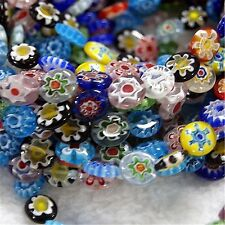Colorful 12x10mm Millefiori Glass Flat Oval Loose Beads