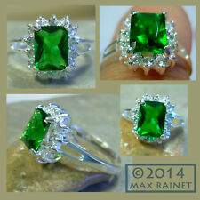 NEW Royal Emerald GREEN Ice CZ Princess SOLITAIRE RING 925 Silver = 8 Kate Diana