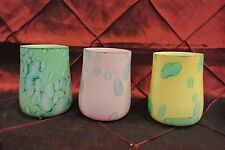 Three Watercolor Votives Candle Holder Yellow, Green, Pink
