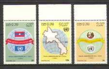 Laos 1985 Naciones Unidas Banderas 40th// Mapas/símbolos 3v Set (n21158)
