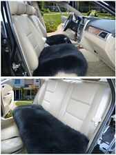Sheepskin Car Seat Covers Genuine Long Wool Chair cushion BLACK 3PCS