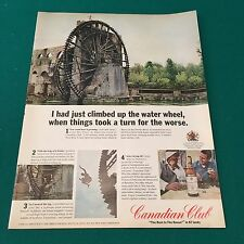 Vintage Magazine Print Ad - 1967 CANADIAN CLUB Hama Water Wheel Orontes River
