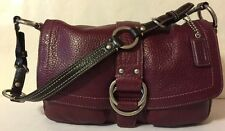 Coach F10893 Purse Plum Burgundy Brown Pebbled Leather Shoulder Bag Handbag EUC