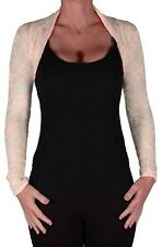 Womens Floral Lace Mesh Long Sleeve Cropped Casual Party Cardigan Ladies Shrugs