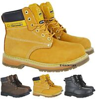 NEW MENS WORK SAFETY BOOTS STEEL TOE CAP HIKING LACE UP TRAINER SHOES ANKLE SIZE