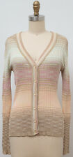 MISSONI Italy Pastel Multicolor Fitted Cardigan Knit Sweater Size US 10
