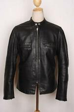 Vtg BROOKS Black Leather Cafe Racer Motorcycle Jacket Large