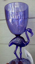 PURPLE FLAMINGO Hawaiian Party Wine Goblet Plastic Glass Pool Friendly Luau 8""