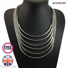 NEW Silver Chain Multi Layer Alloy Necklace Choker Womens Ladies Tassel Bib UK