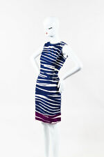 Oscar de la Renta Navy Cream Purple Cotton Printed Sleeveless A Line Dress SZ 12