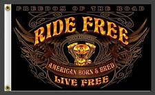 RIDE FREE LIVE FREE MOTORCYCLE WINGS 3 X 5 MOTORCYCLE DELUXE BIKER FLAG #408 NEW