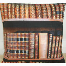 "NEW 14"" Cushion Cover Library Antique Vintage Book Spines Books Brown Gold Black"