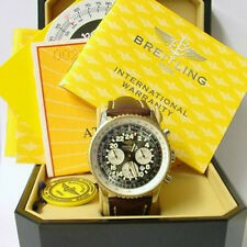 BREITLING STEEL & YELLOW GOLD D22322 COSMONAUTE WATCH LEATHER STRAP MINT UK B/P