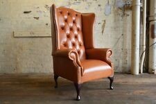 VINTAGE TAN BROWN LEATHER HIGH BACK CHESTERFIELD WING CHAIR