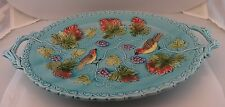 "15"" Vintage Black Forest GERMANY BIRDS MAPLE LEAFS GRAPES MAJOLICA TURQUOISE"