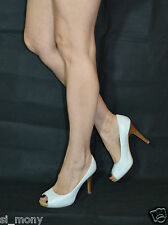 Women White Elegant Court Shoes Heels Peep Toes Real Leather Moda In Pelle Siz 6