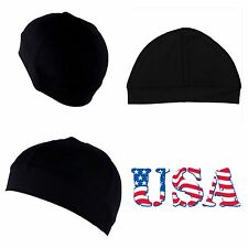 New Men's Spandex All Black Dome Cap Helmet Liner Sports Beanie Skull Hat Biker