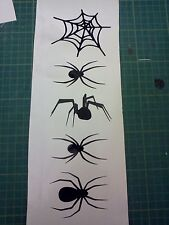 5 X SPIDERS, Stickers.For cars walls windows ect,HALLOWEEN