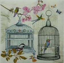 BIRDS & CAGES 2 individual LUNCH SIZE paper napkins for decoupage  3-ply