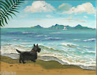 8X10 PRINT OF PAINTING RYTA SCOTTISH TERRIER BEACH SEASCAPE ART OCEAN SEA BOATS