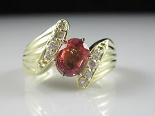 Madeira Citrine and Diamond Ring 14K Yellow Gold Bypass Fine Jewelry Size 6