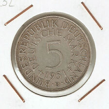 ALEMANIA (GERMANY) 5 MARK 1951 D (silver)