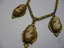 Antique Jewelry Victorian Era Gold Filled Carved Shell Cameo Necklace