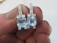 18ct/ 18k white gold diamond & blue Topaz  heavy earrings, 750