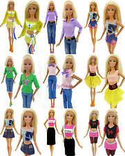 Lot 20Pcs = 10 Upper Tops + 10 Bottoms Pant Skirt Outfit Clothes For Barbie Doll