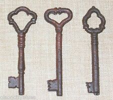 Set of 3 Antique-Look Cast Iron Skeleton Keys Rusted Distressed Finish
