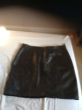 Ladies Short  Black Leather Skirt Size 14